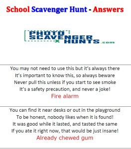 Scavenger Hunt Answers Image